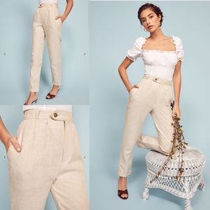 Reformation Silk Tanner High Rise Cuffed Pants